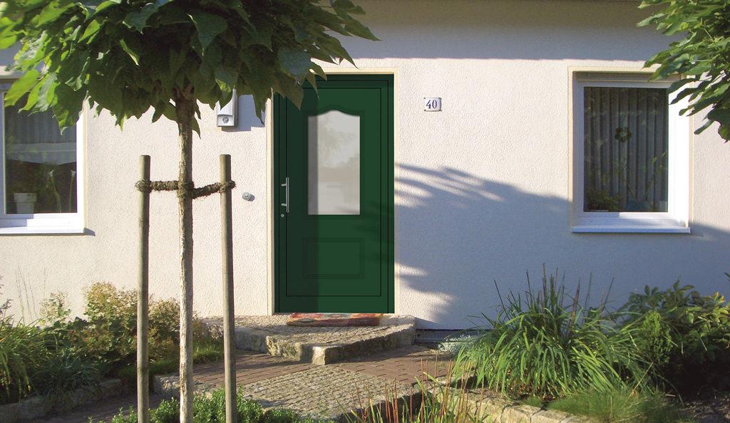 Aluminium-Haustüren Aktion Basic Class Modell Yanni Farbe grün Motiv