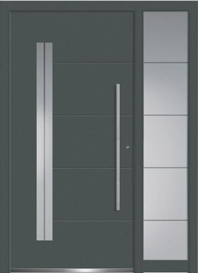 Aluminium-Haustüren Aktion Concept Class Modell Acor mit SeitenteilFarbe RAL 7012 basaltgrau