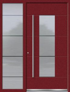 Aluminium-Haustüren Aktion Concept Class Modell Daco mit Seitenteil Farbe 3005 Weinrot Feinstruktur