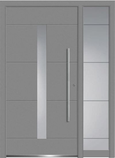 Alu-Haustüren Aktion Concept Class Modell Dilan mit SeitenteilFarbe RAL 9007 silbergrau
