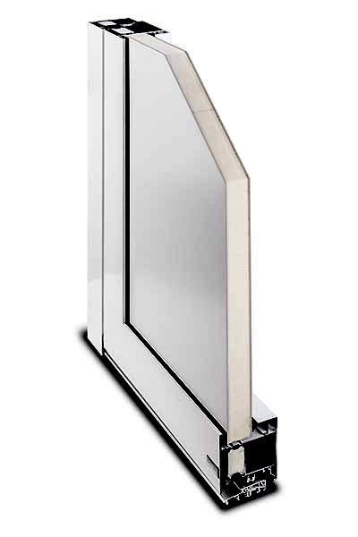 Aluminium-Haustür System Kompakt 72/82 Querschnitt Füllung eingelegt