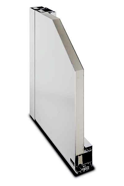 Aluminium-Haustür System Kompakt 72/82 Querschnitt Füllung einseitig flügelüberdeckend