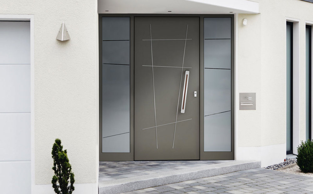 Aluhaustüren Motiv Barthe mit Seitenteil - www.aluminium-haustueren-direkt.de