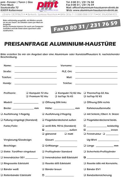 Download Formular Preisanfrage Aluhaustüren und Kunststoff-Haustüren
