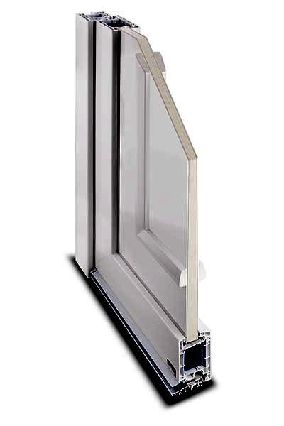 Kunststoff-Haustür System IsoTop 76 Querschnitt Füllung eingesetzt