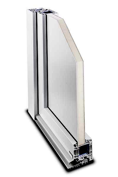 Kunststoff-Haustür System IsoTop 92 Querschnitt Füllung eingesetzt